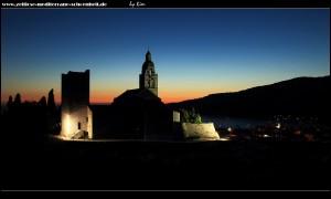 Sonnenuntergangsszenario an der Kirche und dem Kloster Sv. Nikola