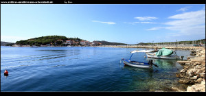 Blick auf die Insel Kopara und den Damm