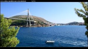 Lozica - Blick auf den Hafen von Gruž, sowie die Ombla-Mündung mit der Franjo-Tuđman-Brücke